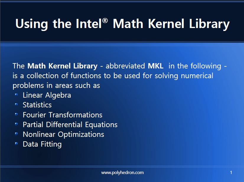 Using the Intel Math Kernel Library